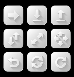 Set of arrow icons with long shadow vector image