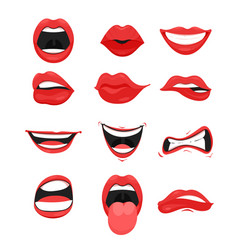 Set of cute mouth with red vector