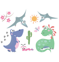 set of dinosaurs 3 vector image