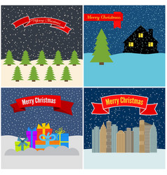 set of four happy christmas vector image
