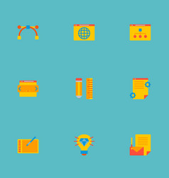 Set of icons flat style symbols with brillian vector