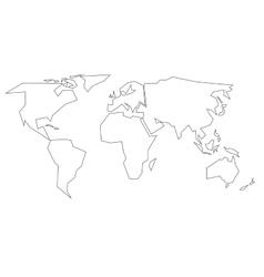 Simplified black outline of world map divided to vector image
