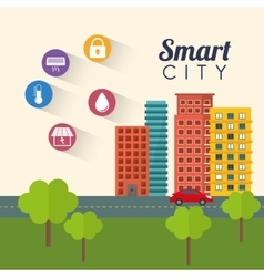 Smart city building app icon set vector