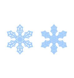 Snowflake icons set blue silhouette snow flake vector