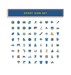 sport icon set with filled outline style design vector image