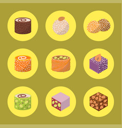 Sweets east delicious dessert food vector