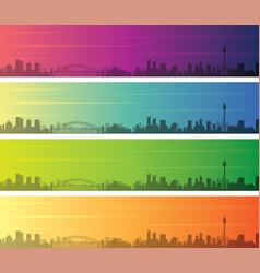 Sydney multiple color gradient skyline banner vector