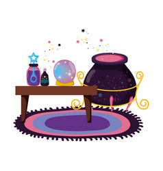 table wooden with witchcraft items and cauldron vector image