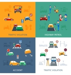Traffic Violation Set vector image