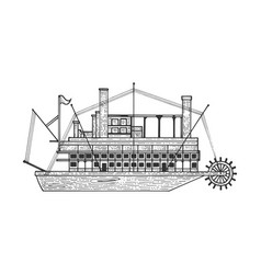 vintage steam ship boat sketch engraving vector image