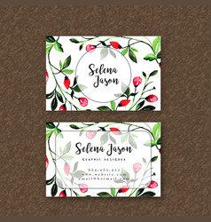 watercolor floral visiting card template vector image