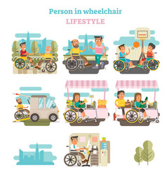 Wheelchair person lifestyle vector