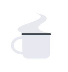 White small mug with a steam for camping vector