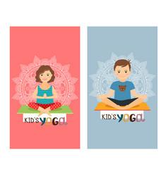 Yoga kids vertical flyers set vector