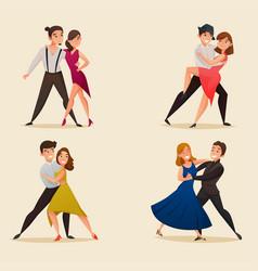 dance pairs retro cartoon set vector image