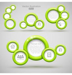 Set of green circle banners vector image