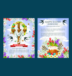 easter crucifix cross paschal cake poster vector image vector image