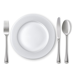Empty plate with spoon knife and fork vector image