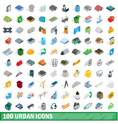 100 urban icons set isometric 3d style vector image