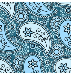 Blue paisley pattern vector image vector image