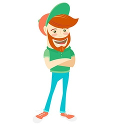 Hipster funny bearded man Flat style vector image