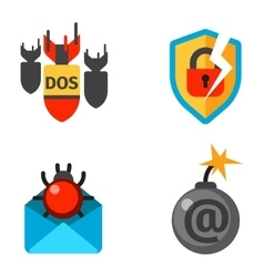 Internet safety icons isolated vector image
