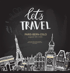 let s travel lettering quote typographic banner vector image vector image