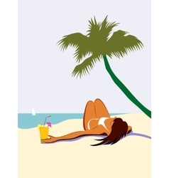 Sunbathing girl under palm tree vector image