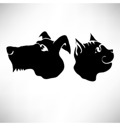 Cat and Dogs Heads vector image