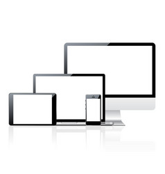 Computer monitor smartphone laptop and tablet pc vector image vector image