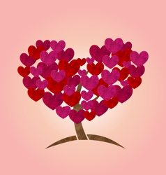 concept of tree with heart leaves for Valentines vector image