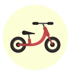 flat red kids balance bike icon vector image vector image