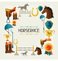 Frame with horse equipment in flat style vector image