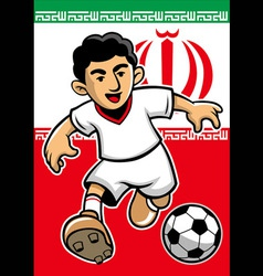 iran soccer player with flag background vector image vector image