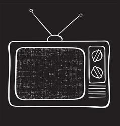 old tv set hand drawn vintage vector image vector image