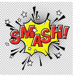 smash comic sound comic speech bubble halftone vector image vector image