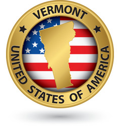 Vermont state gold label with state map vector image vector image