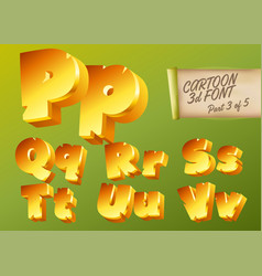 3d gold font in cartoon style comic yellow vector