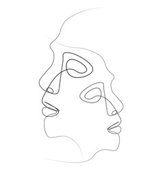 Abstract face one line vector