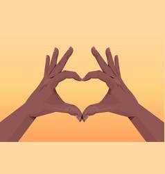 African american human hands making heart shape vector