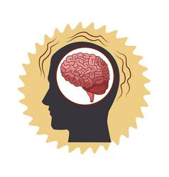Alzheimer brain inside head silhouette vector