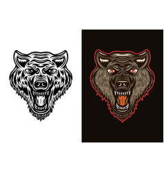 Angry wolf head in two styles black and colorful vector