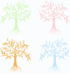 Art trees collection vector