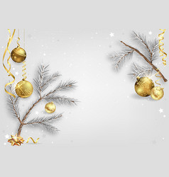 background with coniferous branches and baubles vector image
