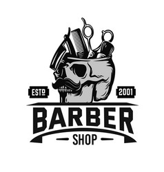 barber logo with skull and barber tools emblem vector image