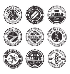 barber shop set nine vintage badges vector image