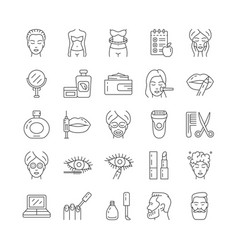 beauty cosmetic and body care icons set vector image