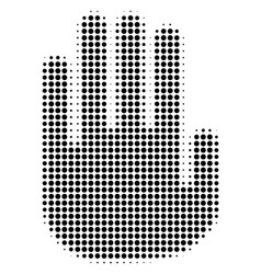 black dotted stop hand icon vector image