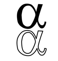 Black outline on white background alpha sign vector