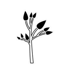 Black silhouette of small tree with leafs vector